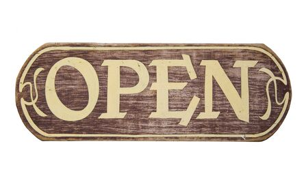 writing western: retro storesign open - on a wooden board