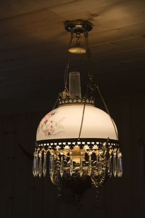 drop ceiling: antique ceiling lamp - light in times before electricity -