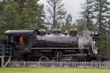 forest railway: ancient steam locomotive - in the wild west of canada -
