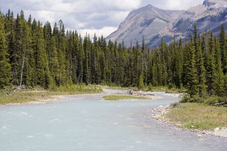 pine creek: river with glacial water - in the rockies, canada