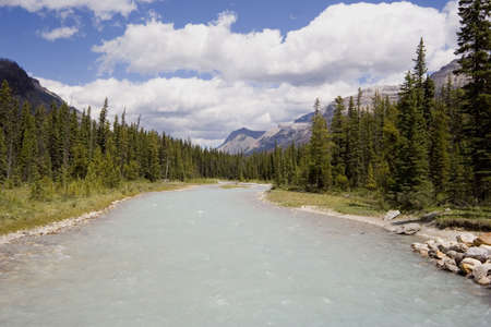 panorama of a river with glacial water - kootenay national park, BC, canada Stock Photo