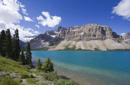 rockies: shore of the bow lake - in the rockies, Canada - Stock Photo