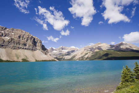 crag: shore of the bow lake - in the rockies, Canada  Stock Photo