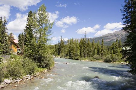 panorama of the bow river with glacial water - lake louise, banff national park, canada - Stock Photo