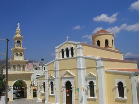 yellow church in the village paleochora on the south coast of the island crete, greek        photo