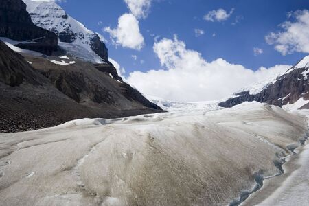 icefield: global warming and melting glaciers in the rockies - columbia icefield, jasper national park, canada -