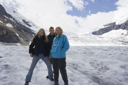 family in the rockies - athabasca glacier, jasper national park, canada -  photo