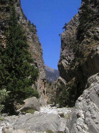 samaria: samaria gorge on the island crete - greek national park in the white mountains