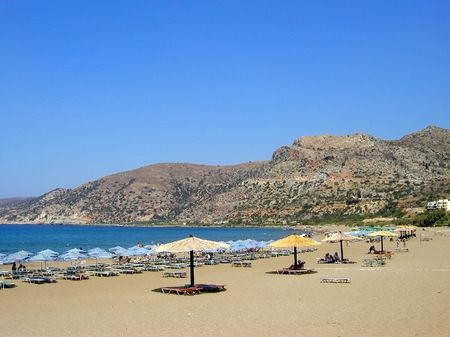 Beach in Paleochora, village on the south coast of the island crete, greece     Stock Photo