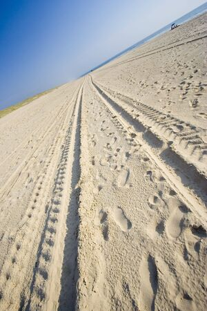 skidmarks: tracks on a sandy beach - cote dargent, atlantic ocean, france -