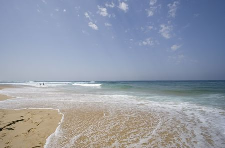 southern europe: lonely beach - cote dargent, atlantic ocean, france -  Stock Photo