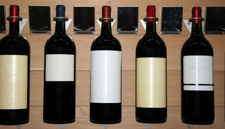 five famous wines in a store - saint-emilion, france -