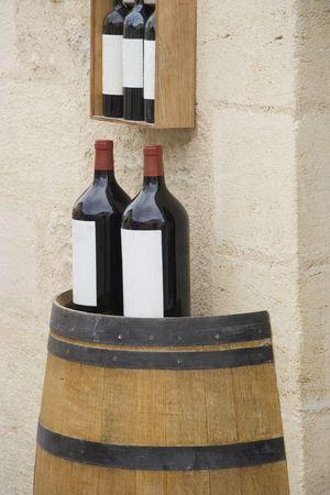 corked: 3l wine bottles on a wine cask - saint-emilion, france -