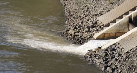 effluent: wastewater canal with the raw sewage of millions of people - oberhausen, germany -  Stock Photo