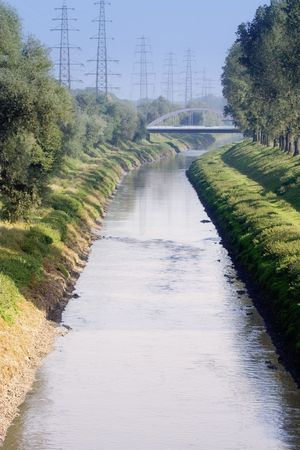 effluent: wastewater canal with the sewage of millions of people - oberhausen, germany -