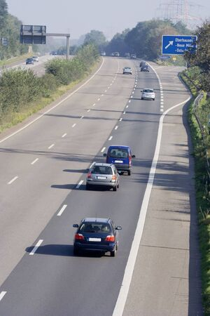 road rage: tailgating on a three-lane autobahn - oberhausen, germany -