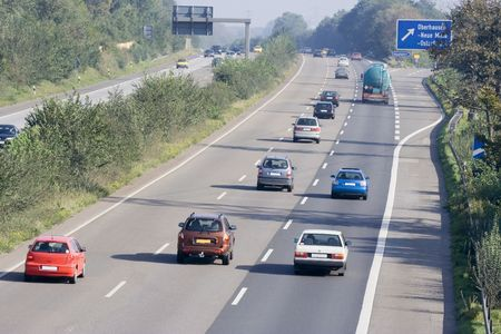 traffic on the highway - autobahn in oberhausen, germany -