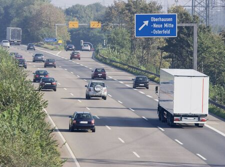 rush hour on a highway near an exchange - autobahn in oberhausen, germany -  photo