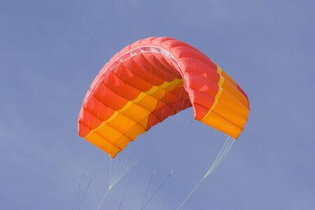 snowkiting: red power kite - this kite is a de-power foil and can be used for buggying, land-boarding or snowkiting -