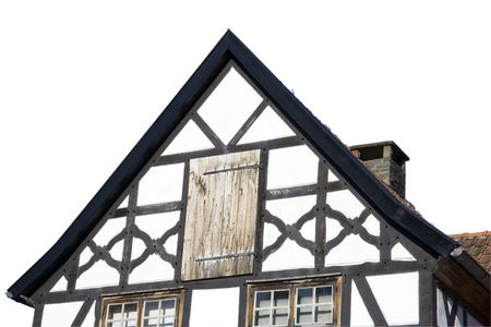 gable of a half-timbered house in black and white - in a traditional german village photo