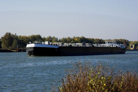 inland: inland waterway transportation - channel in germany -