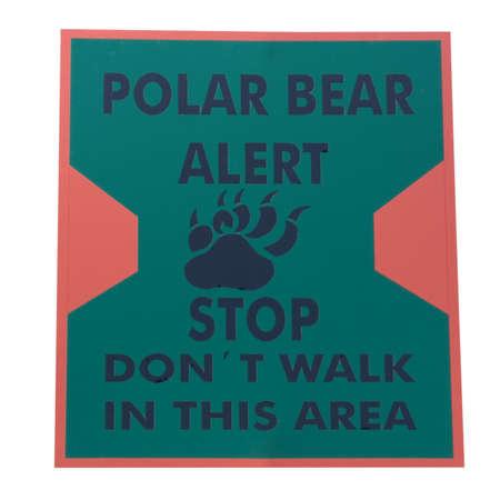 warning sign polar bear alert - with a bear paw Stock Photo - 1885141