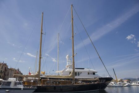 sailing yacht in the port of saint-tropez - french riviera, mediterranean sea photo
