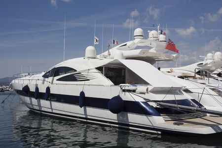 luxury yacht in the port of saint-tropez - french riviera, mediterranean sea photo