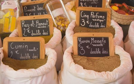 exotic spices for sale - on a french market Stock Photo