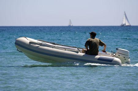rubber dinghy with captain - saint-tropez, french riviera -