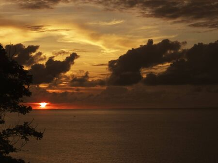 indies: sunset over the ocean - tobago, west indies Stock Photo