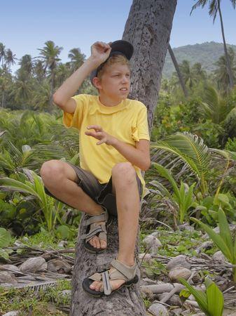 sandal tree: chico sentado en un punto muerto tronco del �rbol de palma - Tobago, West Indies