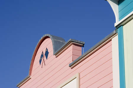 house gable: gable of a pink house - semicircle