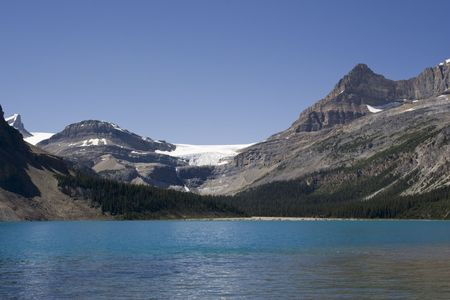 bow lake and bow glacier in the canadian rockies - banff national park, canada - adobe RGB Stock Photo - 3142839