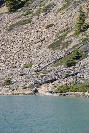 eroded slope in the rockies - bow lake, banff national park, canadian rockies photo