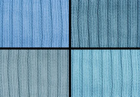 purls: Composing of four woolen patterns - knitting pattern with purls and knits Stock Photo