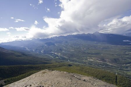 mountainscape: overlooking athabasca valley from mount whistler - jasper national park, canadian rockies, alberta