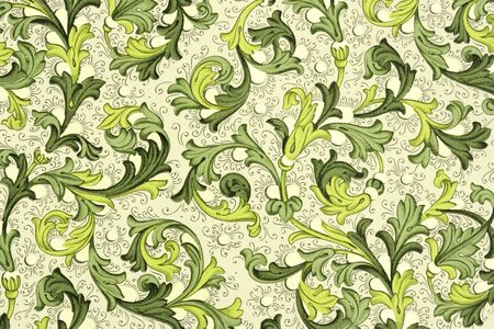 18th century style: antique paper with floral pattern - 18th century, used for scrapbooking