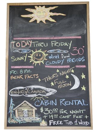 rentals: Black board with handwritten weather forecast and offering cabin rentals - Campground in British Columbia, Canada