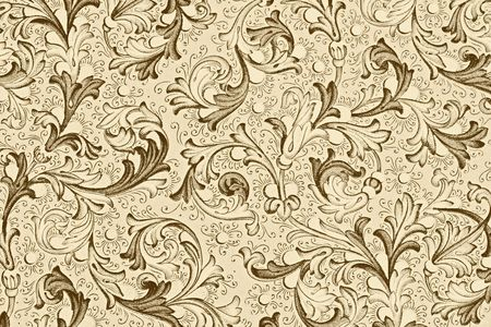 century plant: antique paper with floral pattern - 18th century, used for scrapbooking
