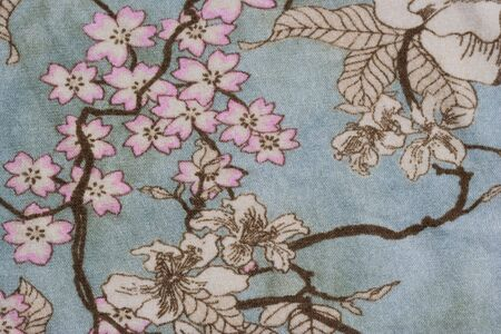 Close-up of a floral design on fabric - asian style - 18th century Stock Photo