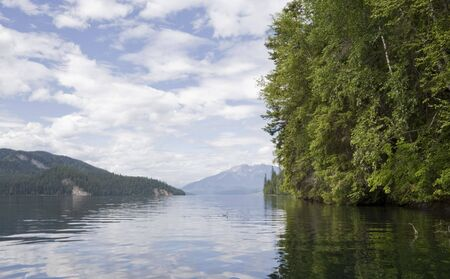 provincial forest parks: Clearwater lake - Panoramic view from boat - Wells Gray Provincial Park, British Columbia, Canada