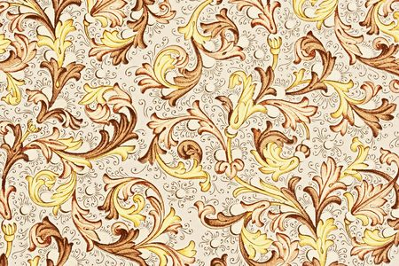antique paper with floral pattern - 18th century, used for scrapbooking Stock Photo - 3865549