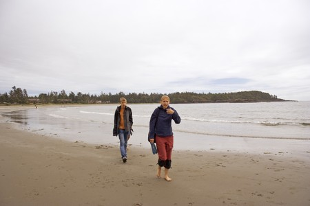 Brother and Sister on Long Beach of Pacific Rim National Park - Vancouver Island, British Columbia, Canada photo