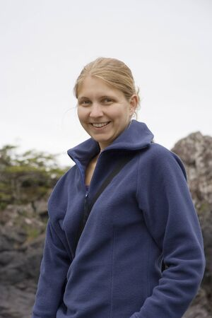 Happy Young Woman � Long Beach, Pacific Rim National Park, Vancouver Island, British Columbia, Canada photo