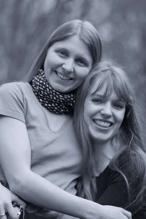 bw: Two Young Women - Best Friends