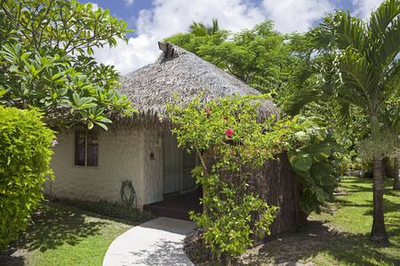 architecture bungalow: Palm Thatched Hut in a Tropical Garden - Rarotonga, Cook Islands, Polynesia Editorial