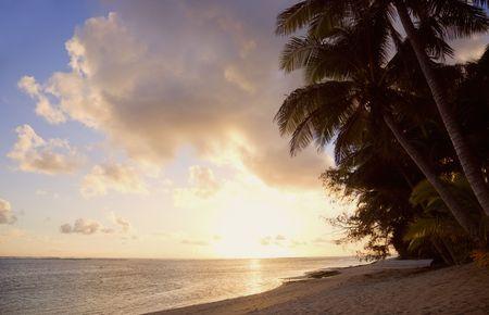 Tropical Island at Sunset - Rarotonga, Cook Islands, Polynesia photo
