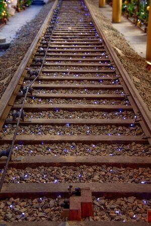 railtrack: Railroad Track with Christmas Lights - Hong Kong, China, Asia