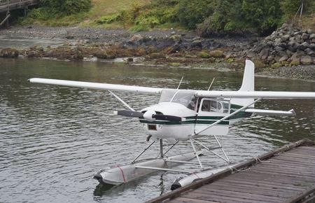 Seaplane moored at Dock - Tofino Harbor, Vancouver Island, British Columbia, Canada